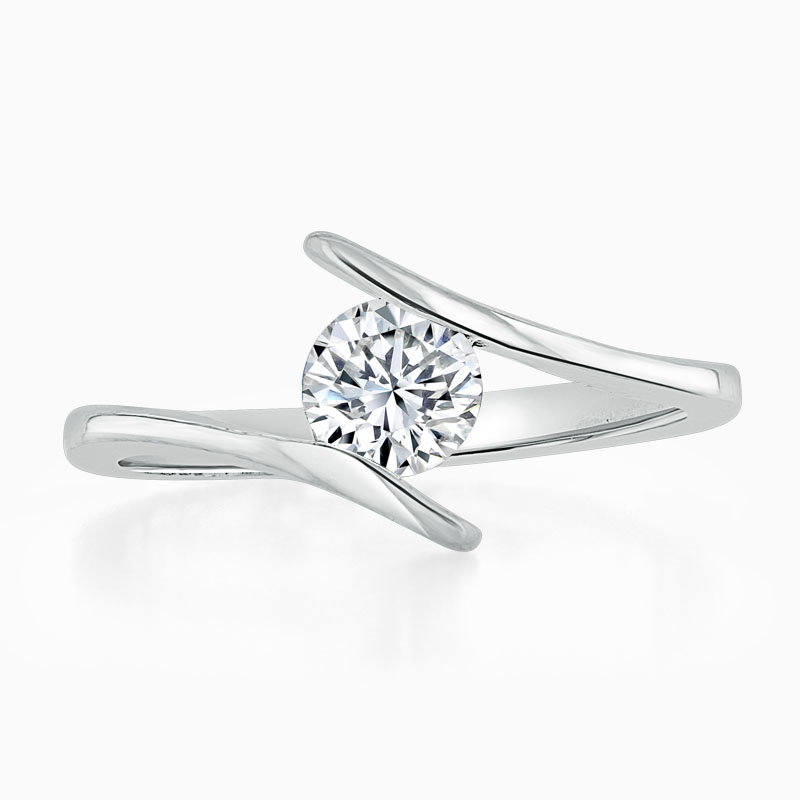 18ct White Gold Round Brilliant Crossover Engagement Ring