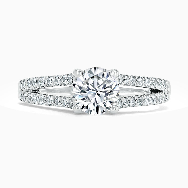 18ct White Gold Round Brilliant Cutdown Split Shoulder Engagement Ring