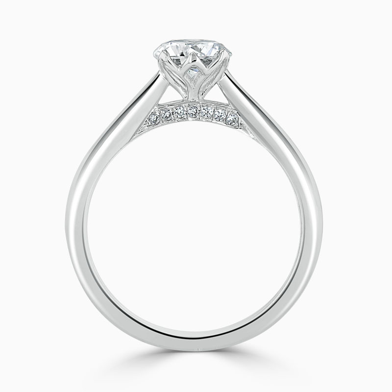 18ct White Gold Round Brilliant Diamond Set Lotus Engagement Ring