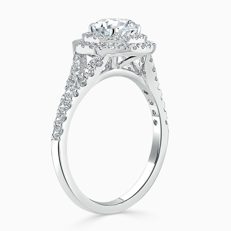 18ct White Gold Round Brilliant Double Halo Split Shoulder Engagement Ring