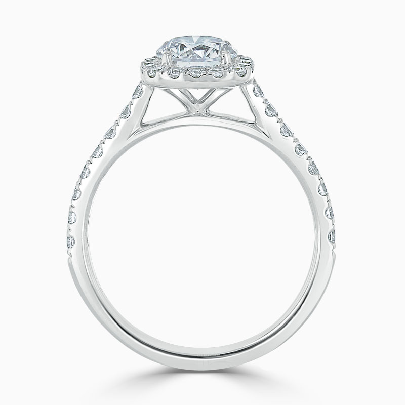 18ct White Gold Round Brilliant Halo Cushion Shaped Engagement Ring