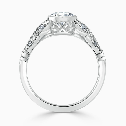 18ct White Gold Round Brilliant Leaf Engagement Ring