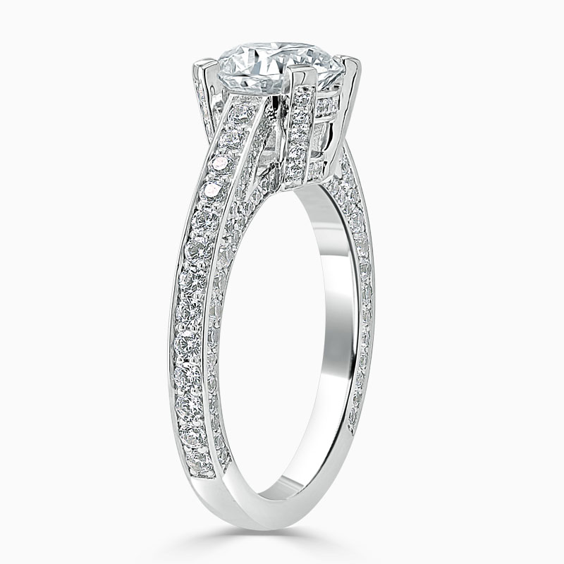 18ct White Gold Round Brilliant Lucent Pavé Set Engagement Ring