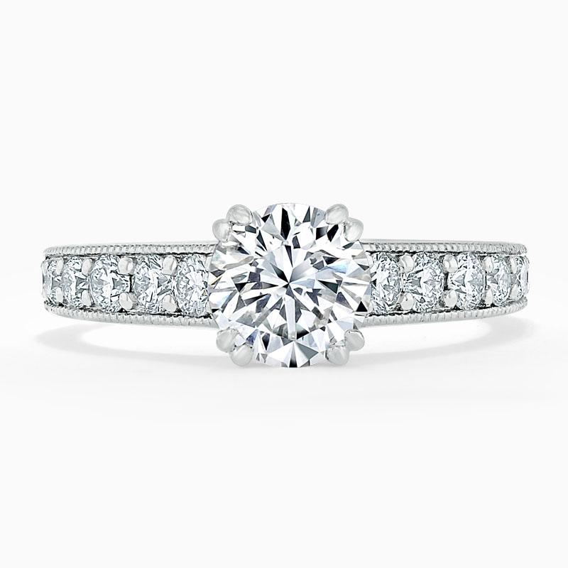 18ct White Gold Round Brilliant Milgrain Pavé Engagement Ring