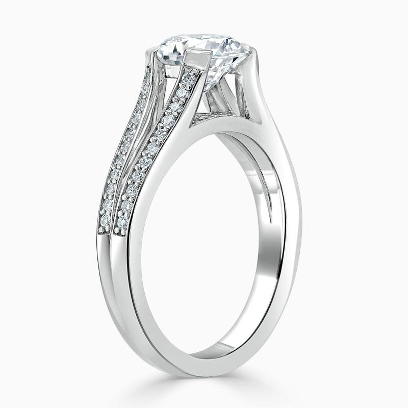 18ct White Gold Round Brilliant Pavé Split Shoulder Engagement Ring