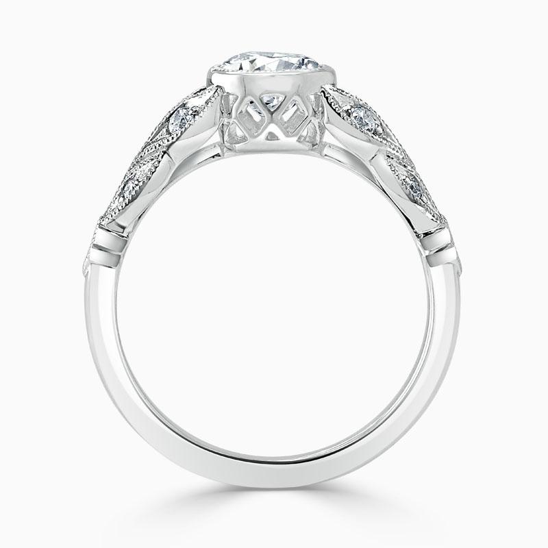 18ct White Gold Round Brilliant Rubover Milgrain Engagement Ring