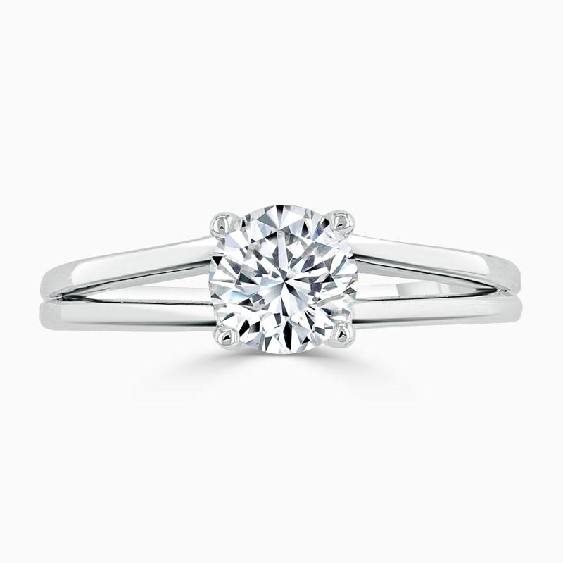 18ct White Gold Round Brilliant Split Shoulder Engagement Ring