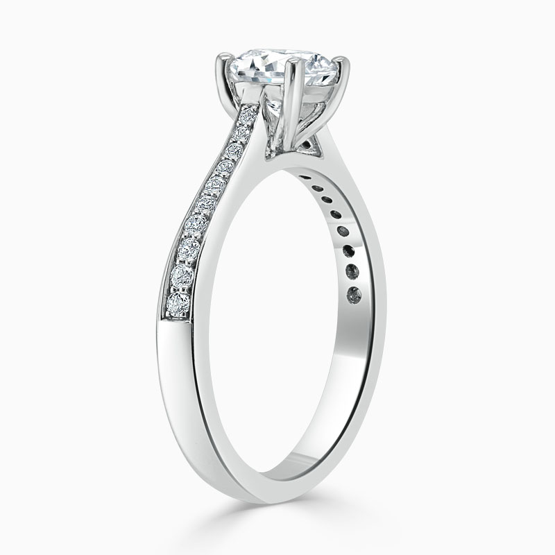 18ct White Gold Round Brilliant Tapered Pavé Engagement Ring