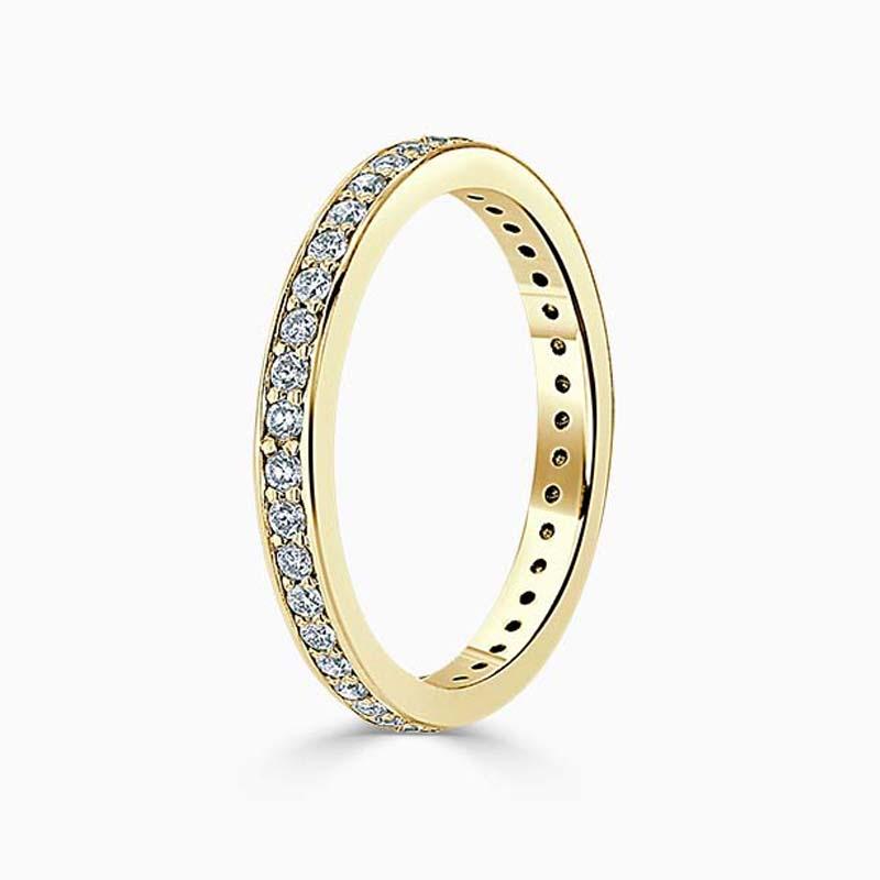 18ct Yellow Gold 2.25mm Round Brilliant Pavé Set Full Eternity Ring