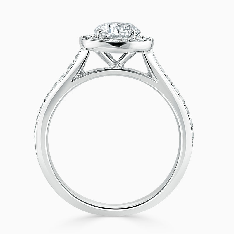 18ct White Gold Round Brilliant Vintage Pavé Halo Engagement Ring