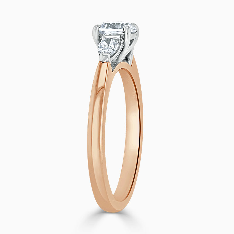 18ct Rose Gold Round Brilliant 3 Stone with Pears Engagement Ring