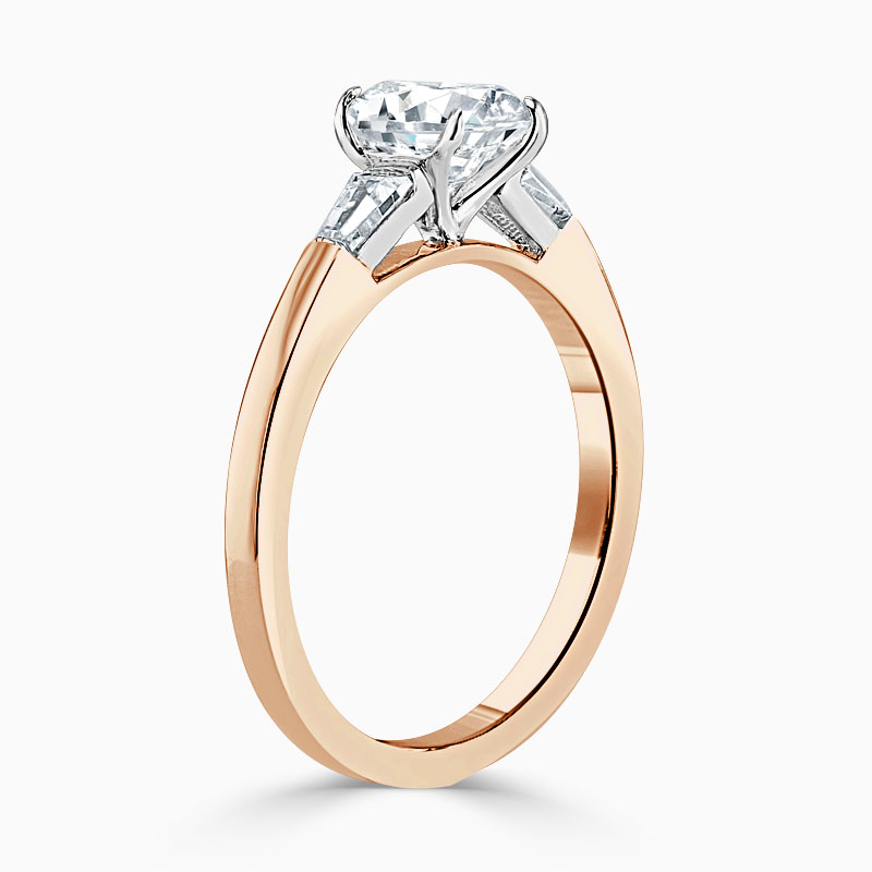 18ct Rose Gold Round Brilliant 3 Stone with Tapers Engagement Ring