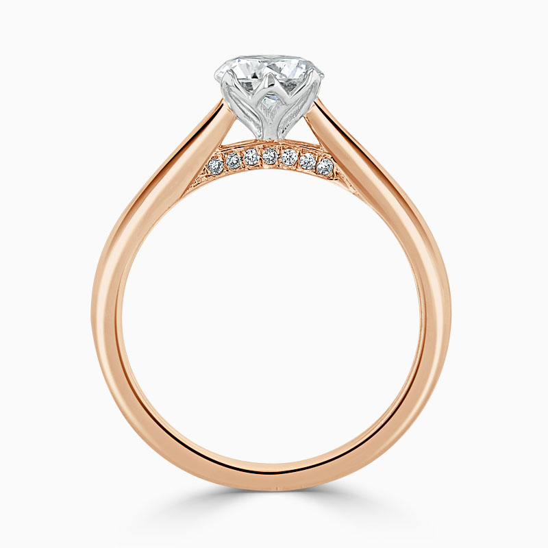 18ct Rose Gold Round Brilliant Diamond Set Lotus Engagement Ring