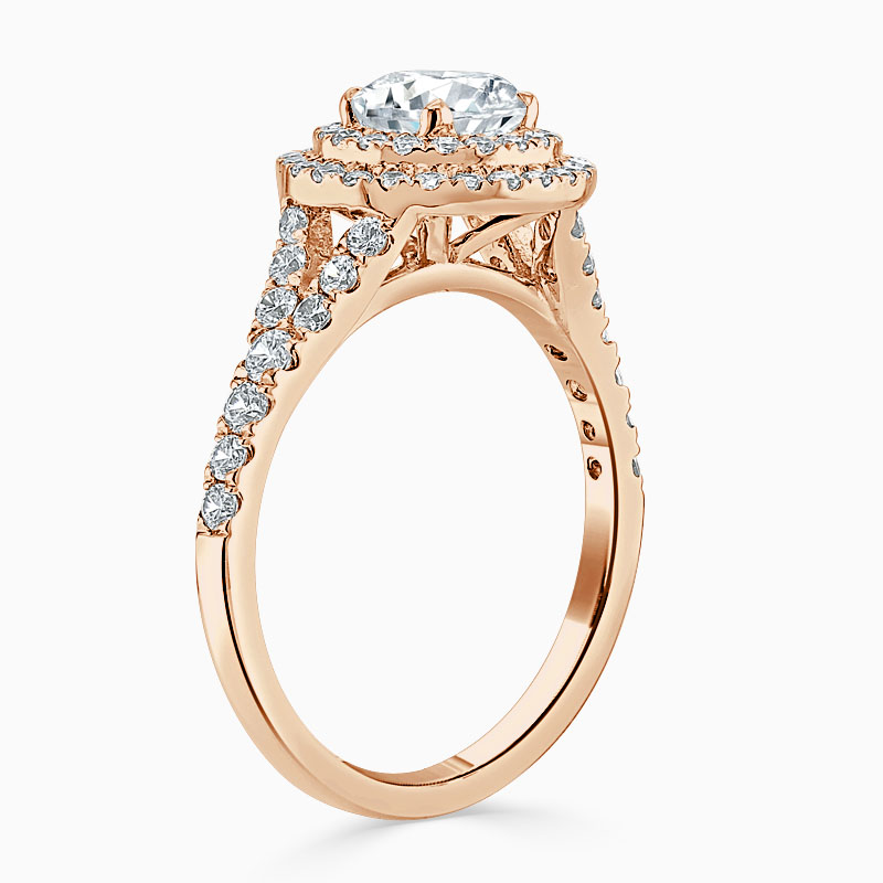 18ct Rose Gold Round Brilliant Double Halo Split Shoulder Engagement Ring