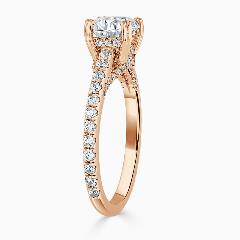 18ct Rose Gold Round Brilliant Entwined Set Engagement Ring