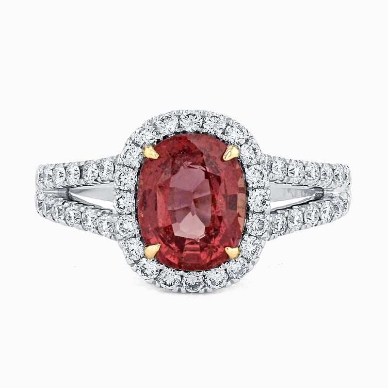 18ct White Gold Oval Padparadscha Sapphire and Diamond Halo Ring