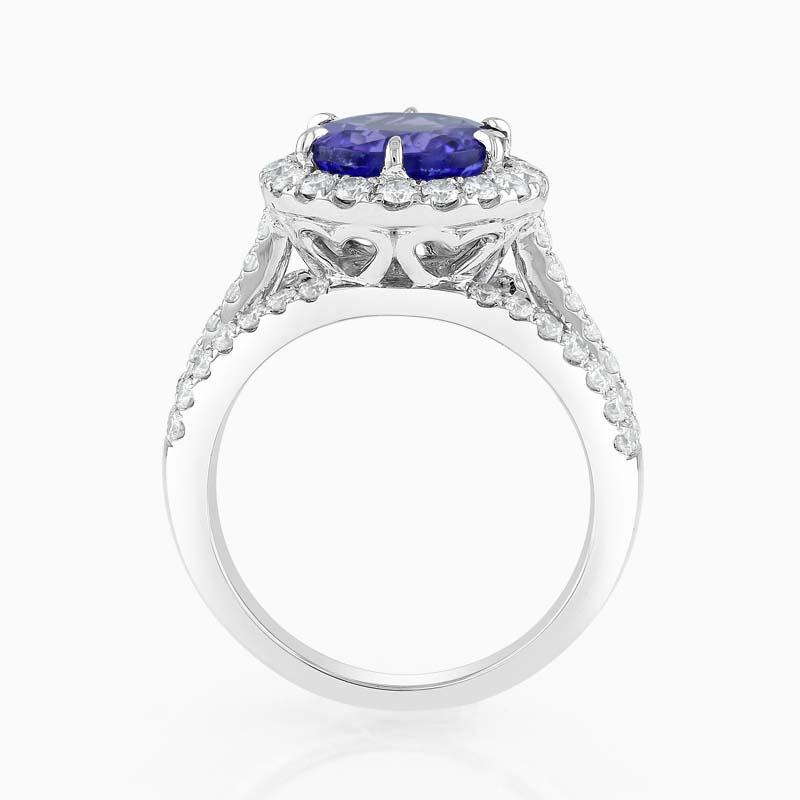 18ct White Gold Round Tanzanite and Diamond Halo Ring