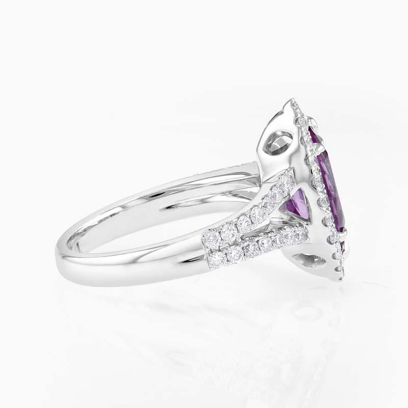 18ct White Gold Marquise Pink Sapphire and Diamond Halo Ring