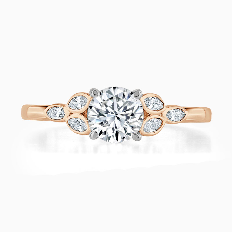 18ct Rose Gold Round Brilliant Leaf Engagement Ring