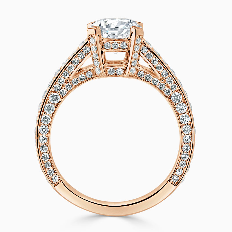 18ct Rose Gold Round Brilliant Lucent Pavé Set Engagement Ring