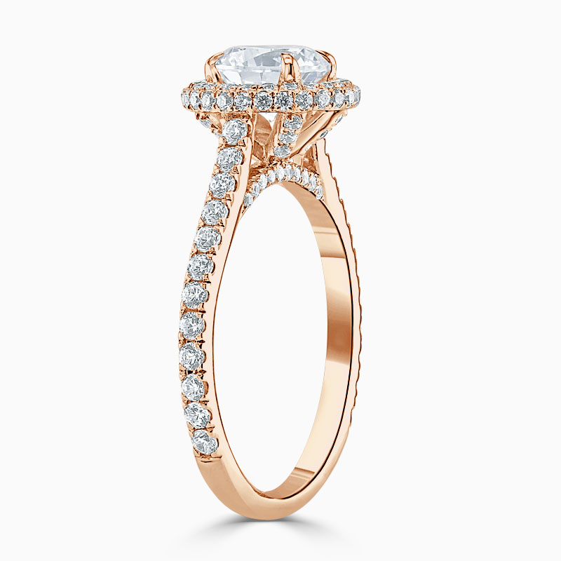18ct Rose Gold Round Brilliant Luxe Halo Engagement Ring