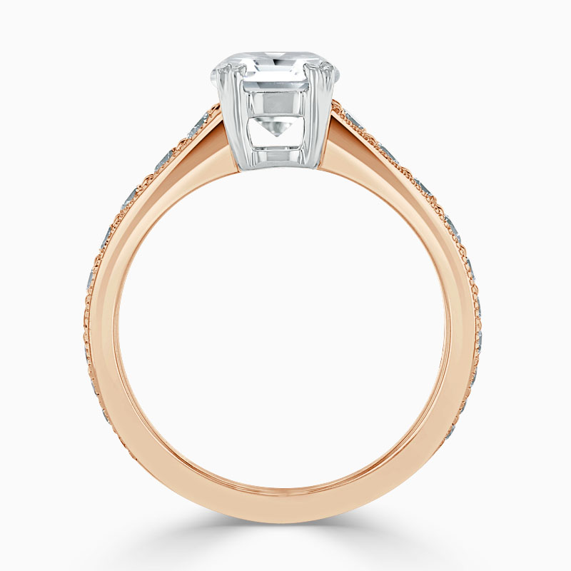 18ct Rose Gold Round Brilliant Milgrain Pavé Engagement Ring