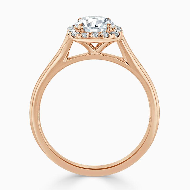 18ct Rose Gold Round Brilliant Plain Halo Cushion Shaped Engagement Ring