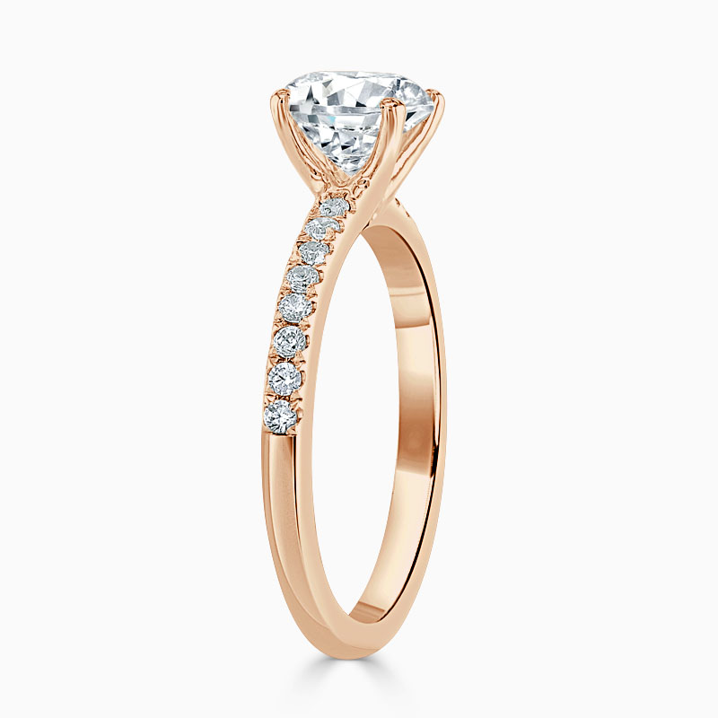 18ct Rose Gold Round Brilliant Simplicity Cutdown Engagement Ring