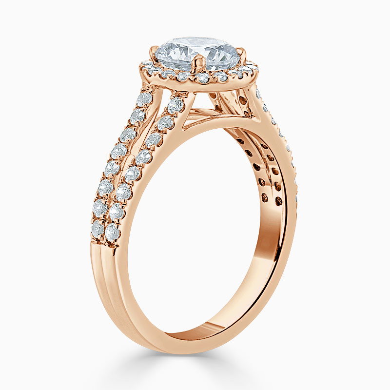 18ct Rose Gold Round Brilliant Split Shoulder Halo Engagement Ring
