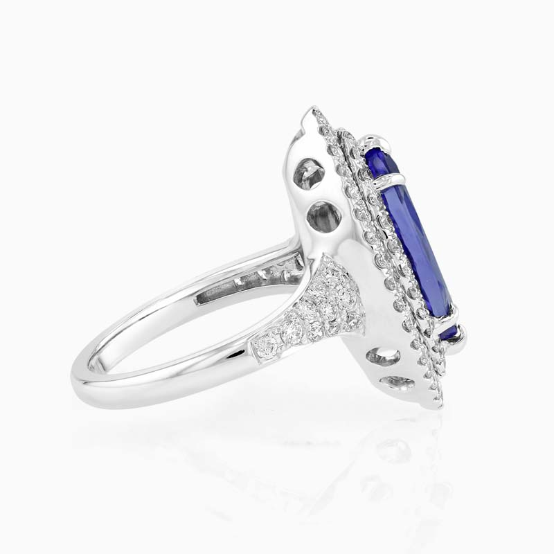 18ct White Gold Marquise Tanzanite and Diamond Halo Ring
