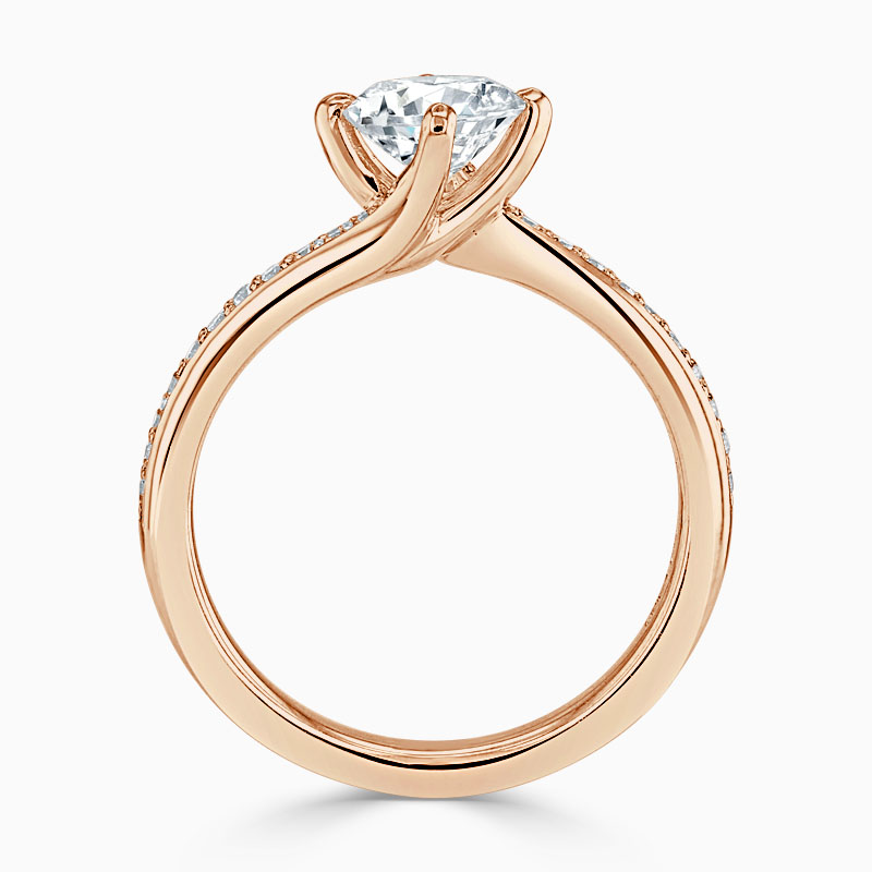 18ct Rose Gold Round Brilliant Twist Pavé Engagement Ring