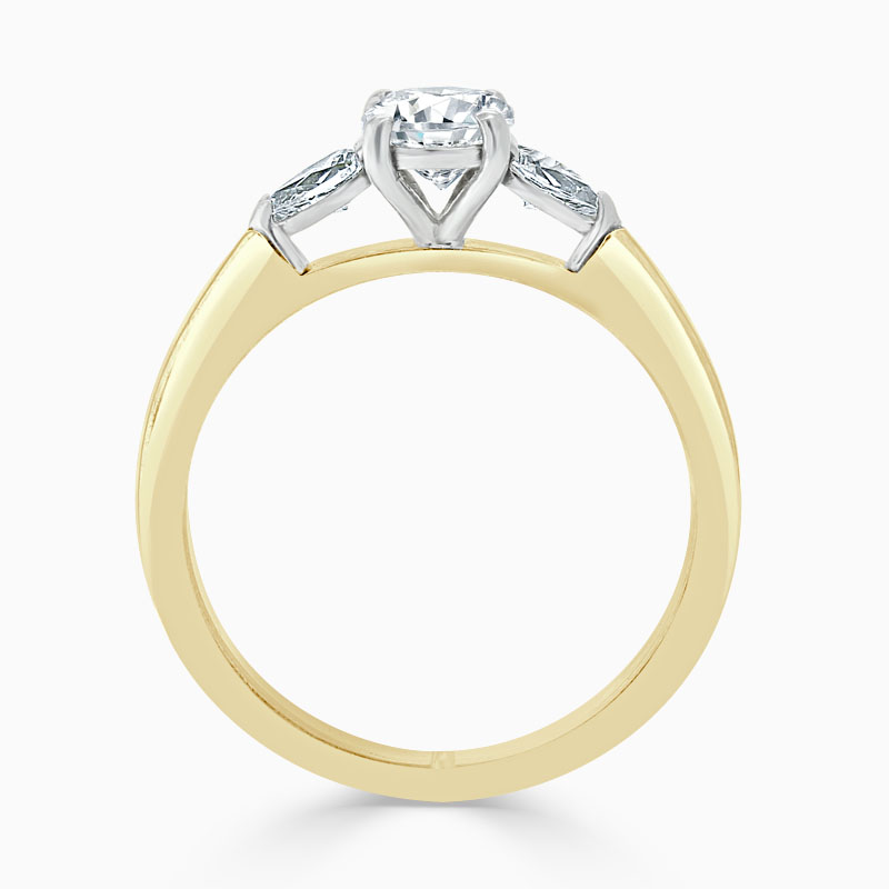 18ct Yellow Gold Round Brilliant 3 Stone with Pears Engagement Ring