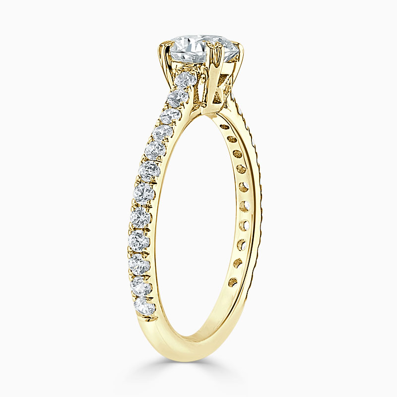 18ct Yellow Gold Round Brilliant Basket Cutdown Engagement Ring