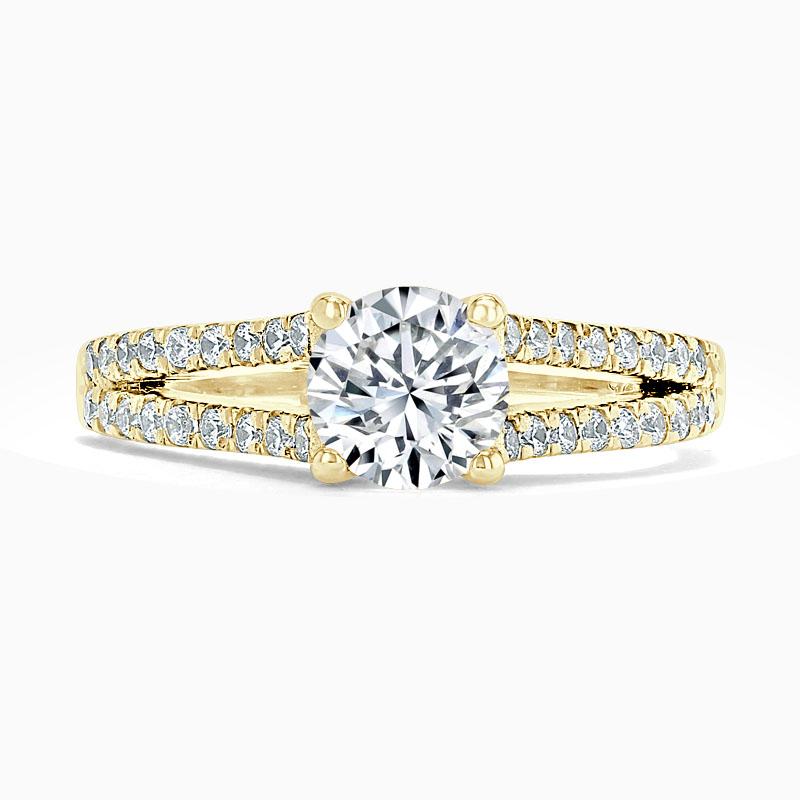 18ct Yellow Gold Round Brilliant Cutdown Split Shoulder Engagement Ring