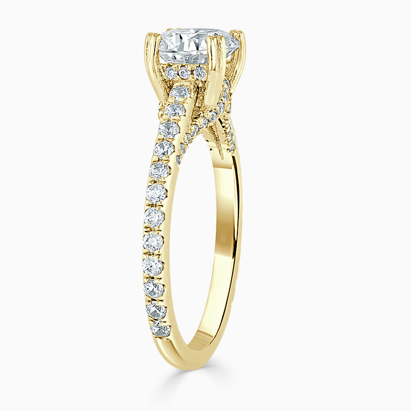 18ct Yellow Gold Round Brilliant Entwined Set Engagement Ring