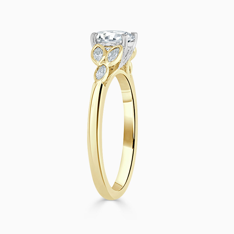 18ct Yellow Gold Round Brilliant Leaf Engagement Ring