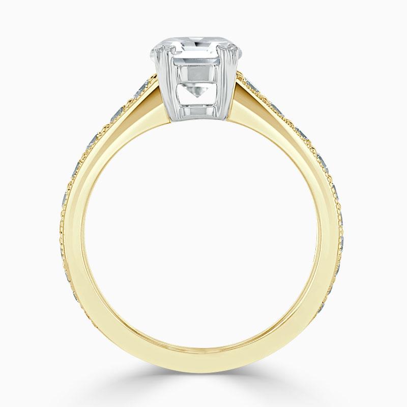 18ct Yellow Gold Round Brilliant Milgrain Pavé Engagement Ring