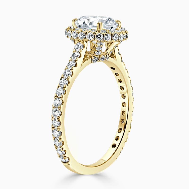 18ct Yellow Gold Round Brilliant Original Halo Engagement Ring