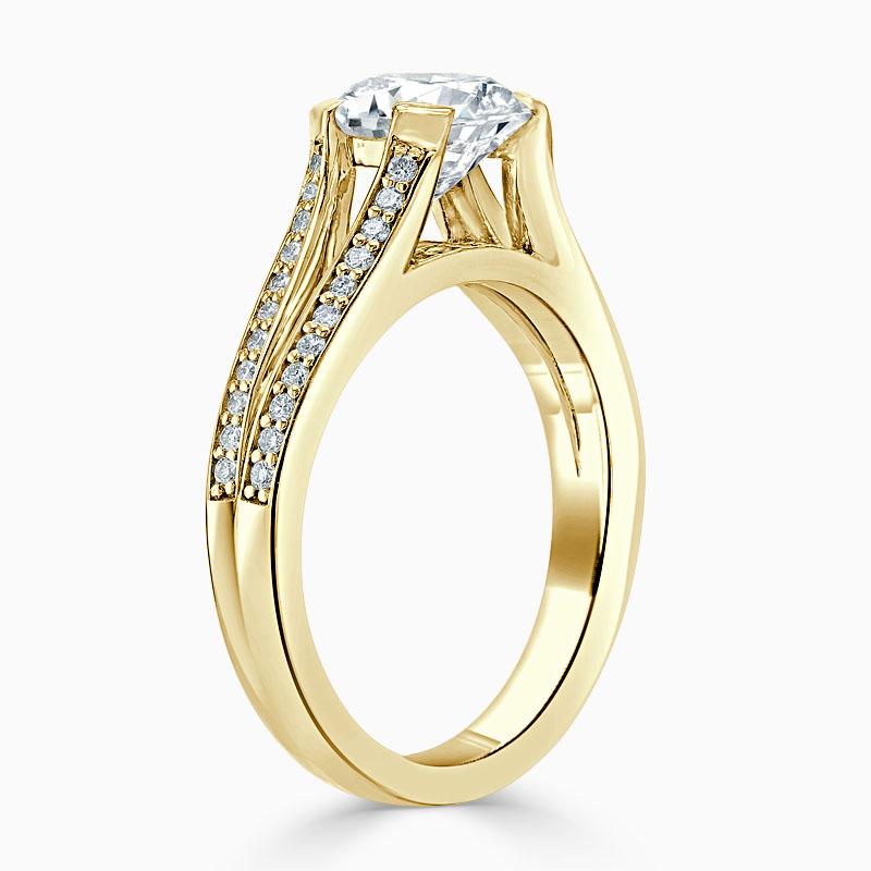 18ct Yellow Gold Round Brilliant Pavé Split Shoulder Engagement Ring