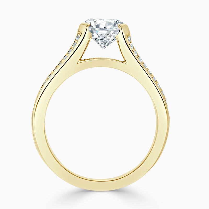 18ct Yellow Gold Round Brilliant Pavé Split Shoulder Engagement Ring