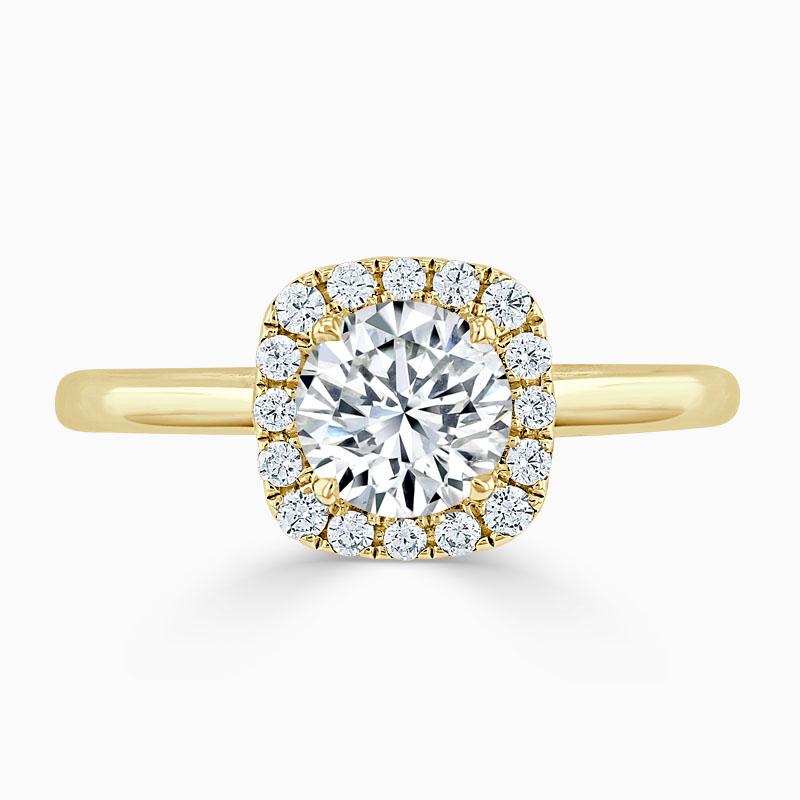 18ct Yellow Gold Round Brilliant Plain Halo Cushion Shaped Engagement Ring