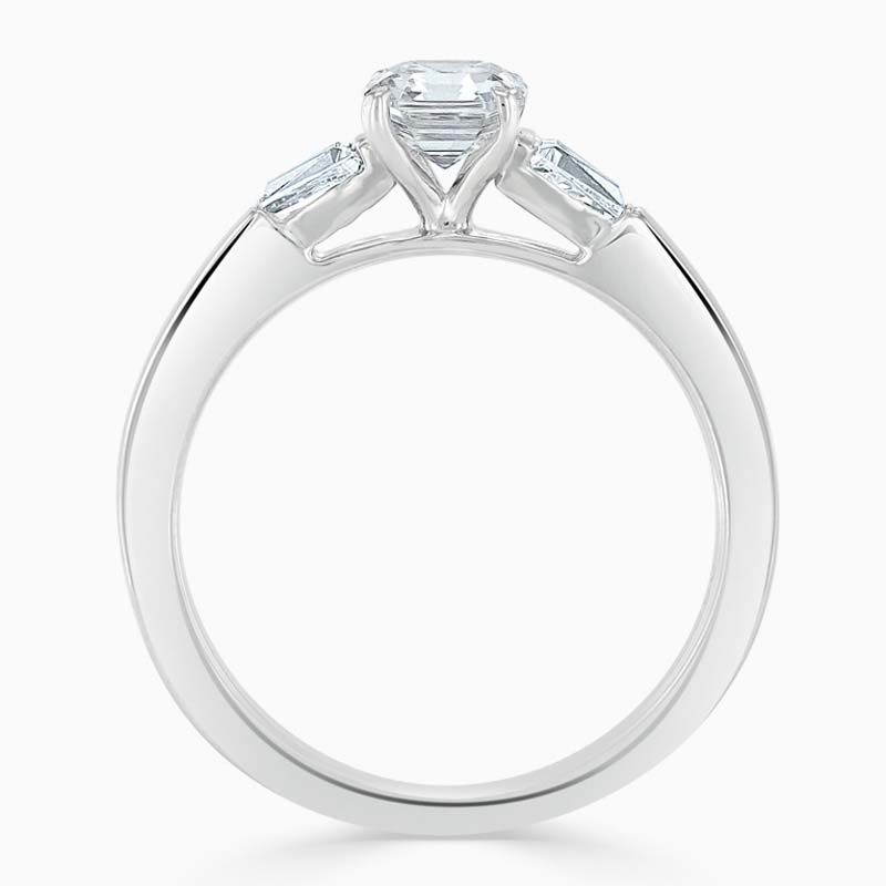 Platinum Asscher Cut 3 Stone with Tapers Engagement Ring
