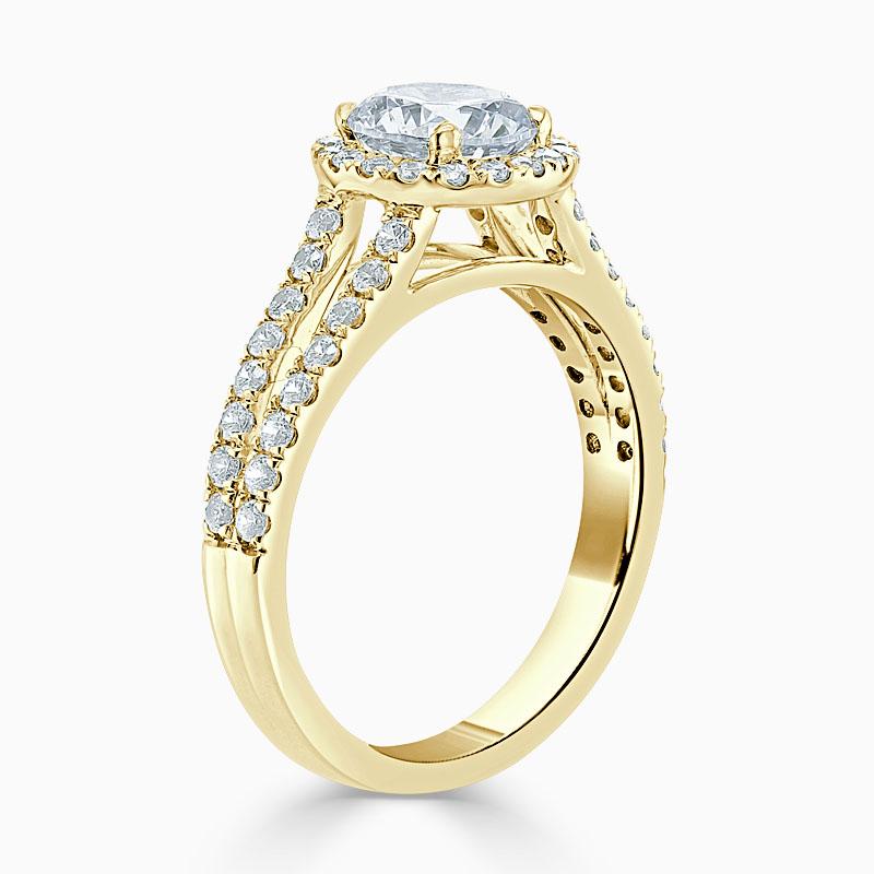 18ct Yellow Gold Round Brilliant Split Shoulder Halo Engagement Ring