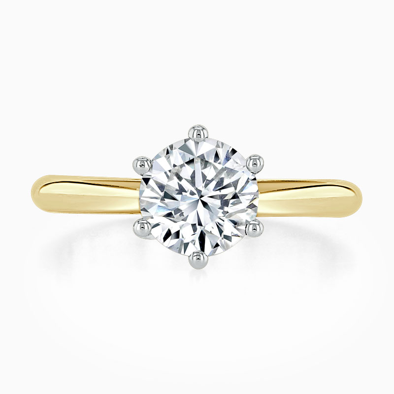 18ct Yellow Gold Round Brilliant Wedfit 6 Claw Engagement Ring