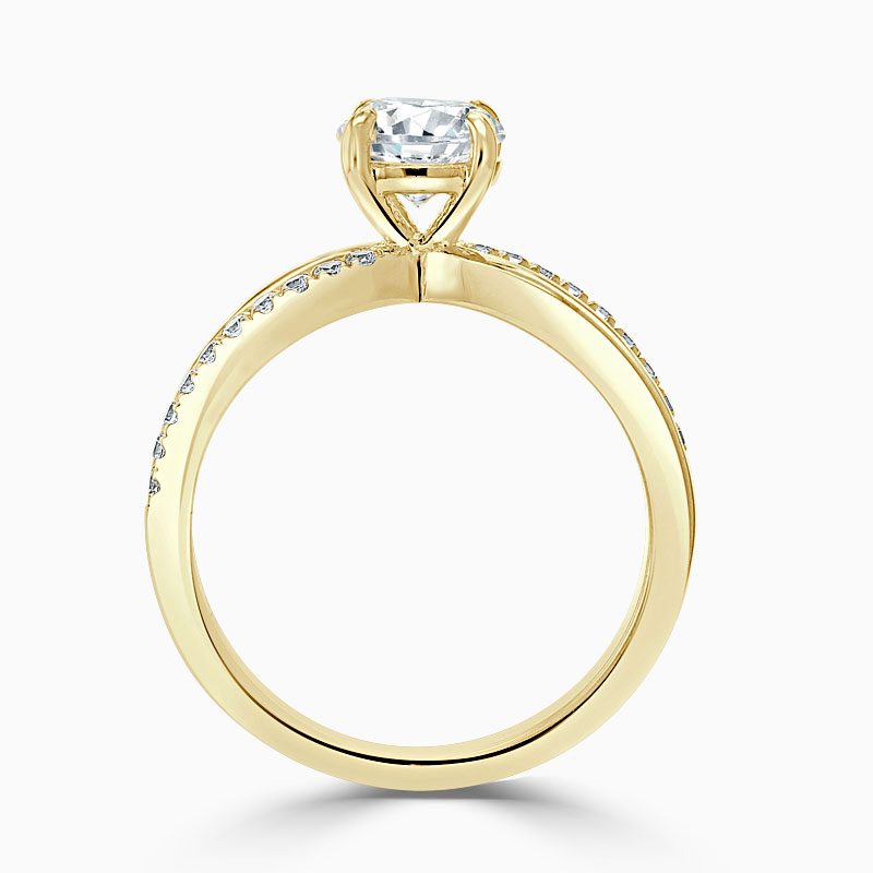 18ct Yellow Gold Round Brilliant Woven Set Engagement Ring