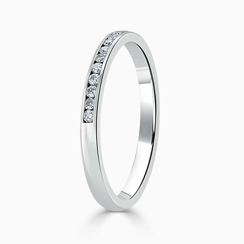 Platinum 2.00mm Round Brilliant Channel Set Half Eternity Ring