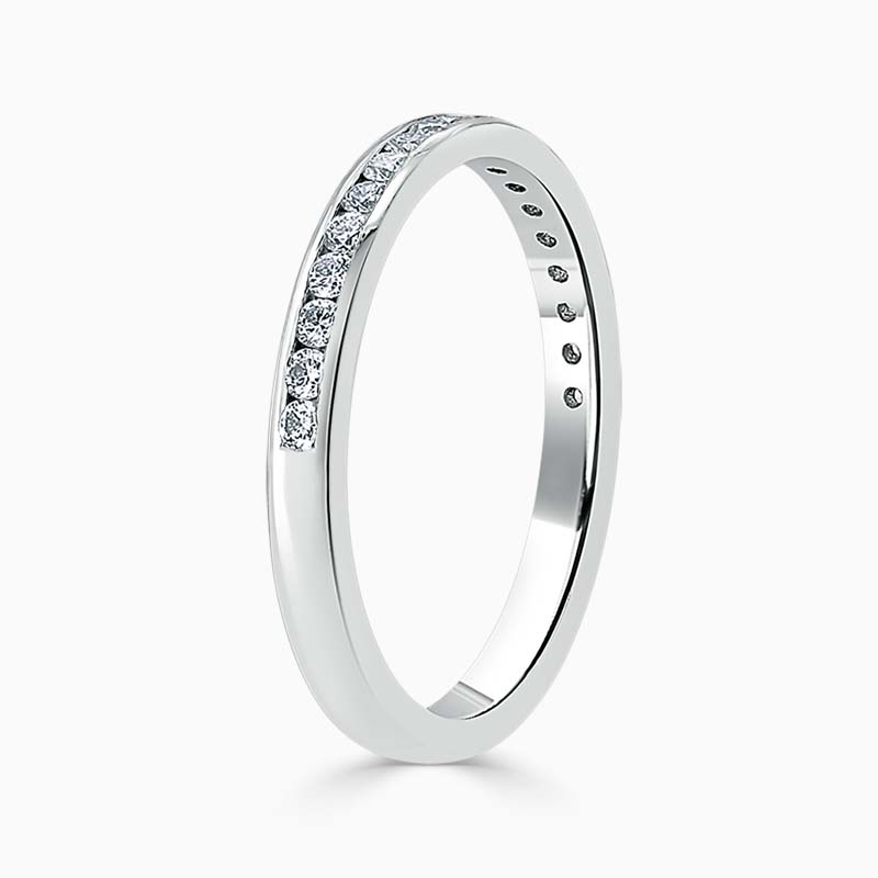 Platinum 2.25mm Round Brilliant Channel Set Half Eternity Ring