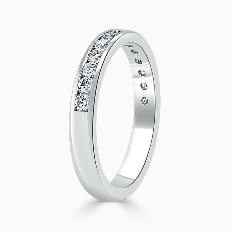 18ct White Gold 3.00mm Round Brilliant Channel Set Half Eternity Ring
