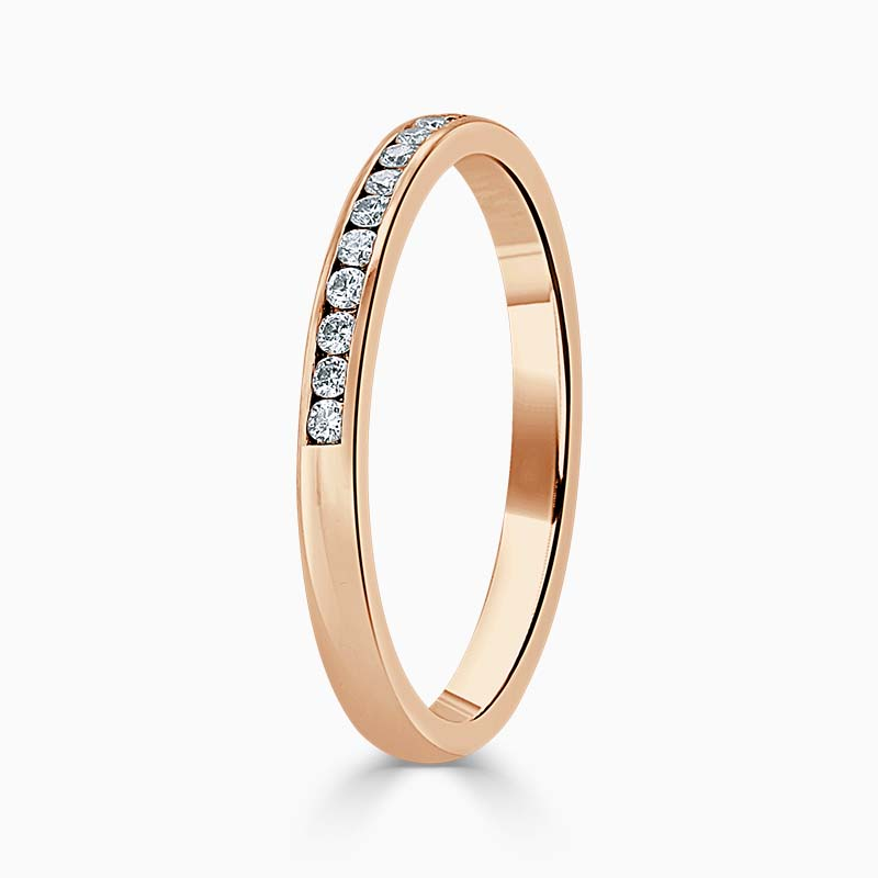 18ct Rose Gold 2.00mm Round Brilliant Channel Set Half Eternity Ring