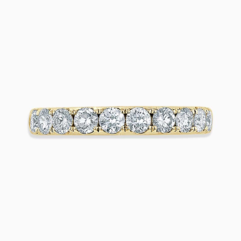 18ct Yellow Gold 3.00mm Round Brilliant Cutdown Set Half Eternity Ring